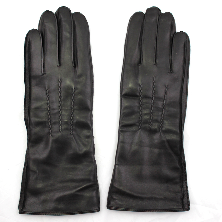 2016 high quality ladies long leather gloves lining wool