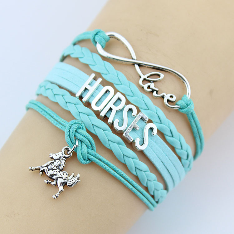 Whole New Products 2017 Jewelry Letter Leather Straps Horse Charm Bracelet For Men Women Product
