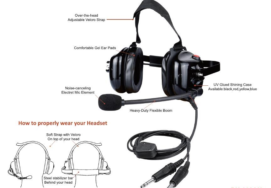 Behind the Head PNR Aviation Headset Airline Headset