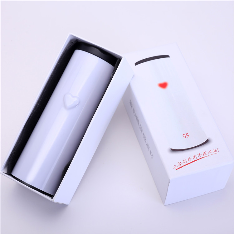 Christmas Promotional Gift 2016 Creative Korean Double Wall Stainless Steel Loving Heart Touch Sensing Cup
