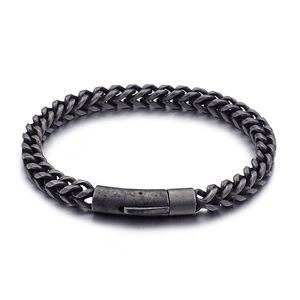New 2019 Men Retro Magnetic Clasp Stainless Steel Chain Bracelet Antique Silver Bangle