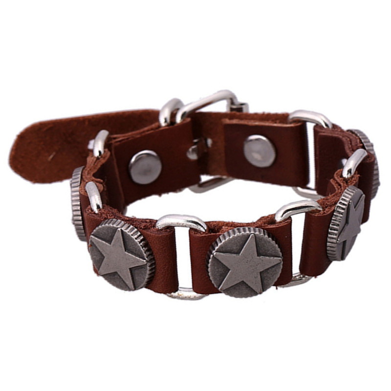 SH-S60001-3 Leather Bracelets New Arrive Trendy Star Bracelets Elegant Leather Bracelets Brown Charm Bracelets