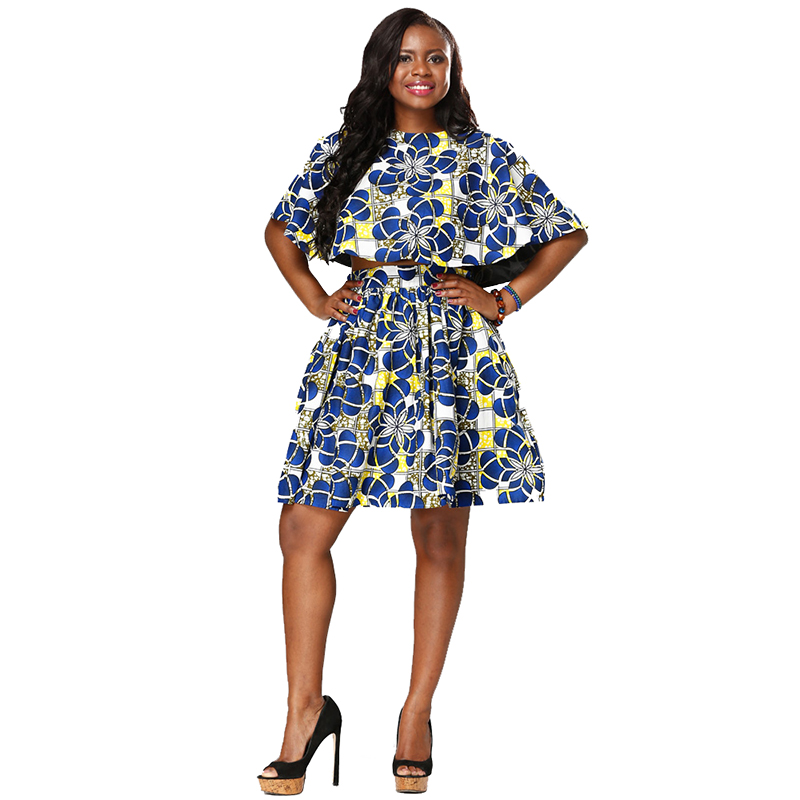 ZH-057 African hot Selling women batik print fabric clothes african skirt and blouse designs two piece