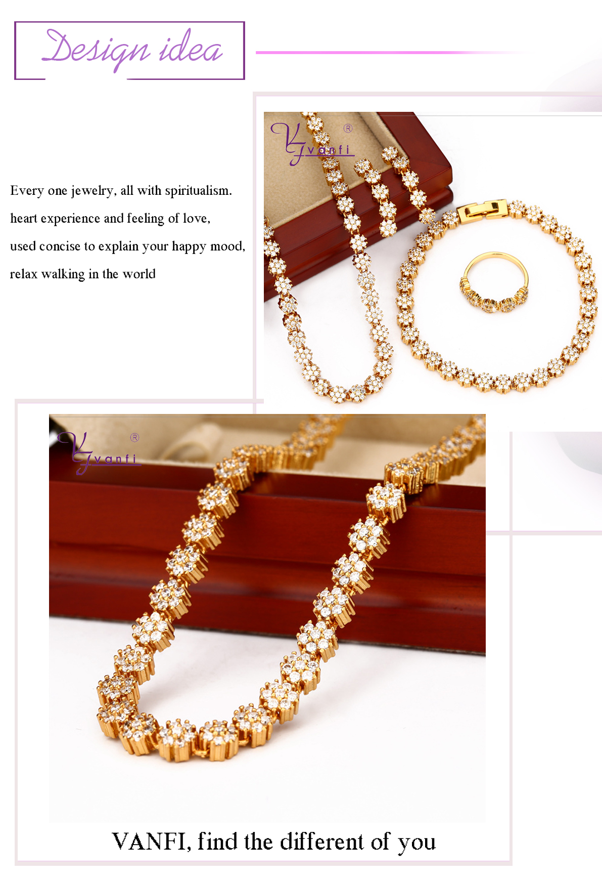 Custom Bridal Flower Gold Plated Hot Sell Design Zircon Jewelry Sets