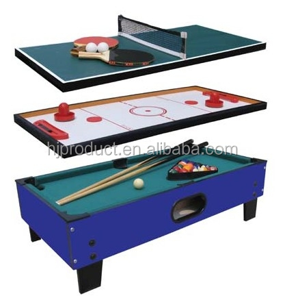high quality and favorable price billiard,push hockey, table tennis 3 in 1 multi game table