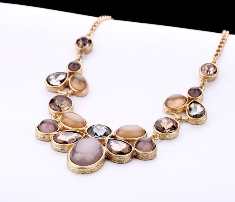 Shiny Topaz Gemstone Gold Chain Man-made Australian Opal Jewelry ...