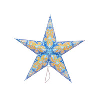 2017 Wholesale Paper Star Lanterns 5 Angles Point Blue Light