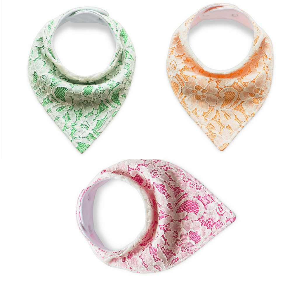 hot promotion 100% cotton inwrought flower pattern pure color lace baby bibs
