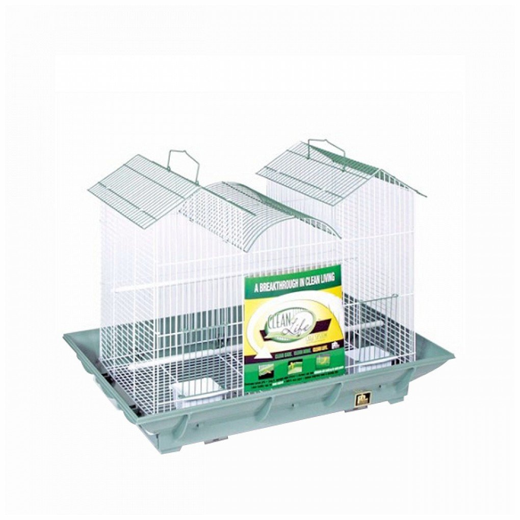 Prevue Hendryx Clean Life Triple Roof Bird Cage - Green & White PP-856G/W