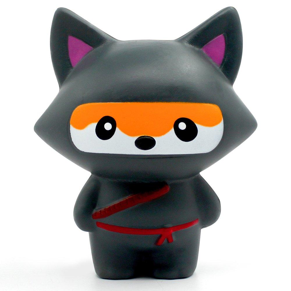 FLY2SKY Jumbo Squishies Ninja Squishies Slow Rising Kawaii Animals Fox/Panda Squishies Stress Relief Squeeze Squishies Toys for Kids/Adults