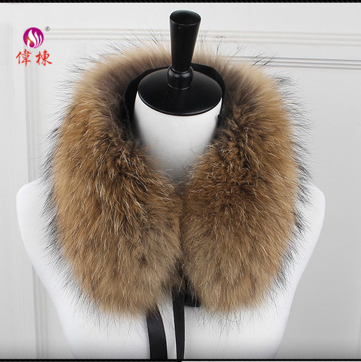 genuine real natural detachable raccoon fur collar for coat and jacket
