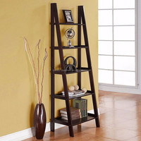 Wood Ladder 5-Tier Bookshelf Home Storage Holders Foldable Racks Shelves