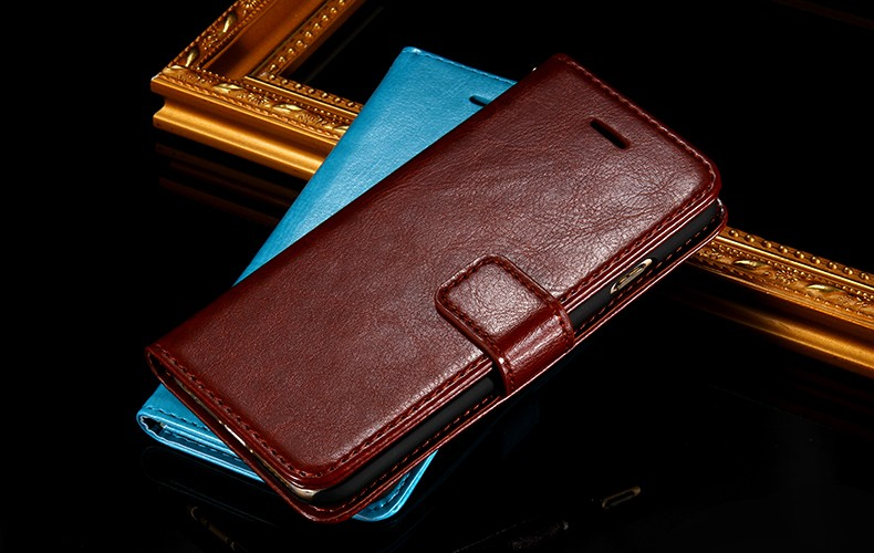 Customized Wallet crazy horse Flip Cover Stand with Card Holder Case Cover for Motorola XT502