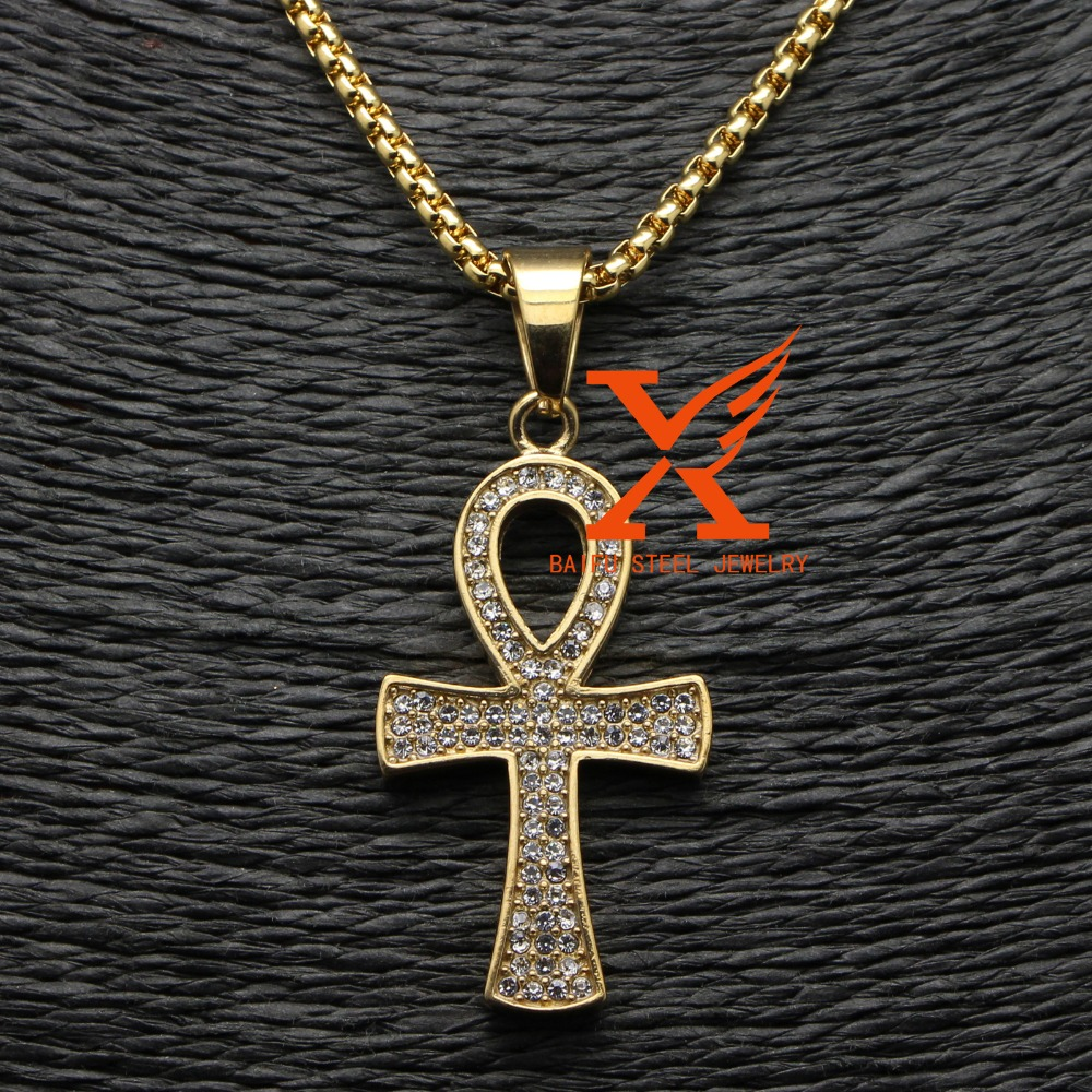 Hip Hop Mens Stainless Steel 18k Gold Plated Iced Out Egyptian Ankh Pendant