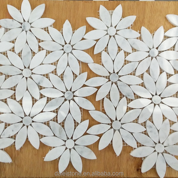 Carrara White Flower Marble Mosaic Tile Flooring Border