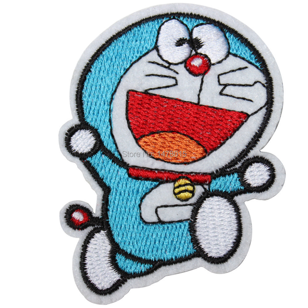 Wholesale!6pcs Embroidered Movie Cartoon Emblem Iron On Patches-Running Pattern Doraemon Brand Badge Applique 2.75X1.96inch