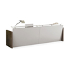 Office Long Front Desk Counter for Receptionists, Modern Reception Desk with 2 pcs Side Cabinet