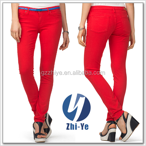 new style fashion women's red jeans
