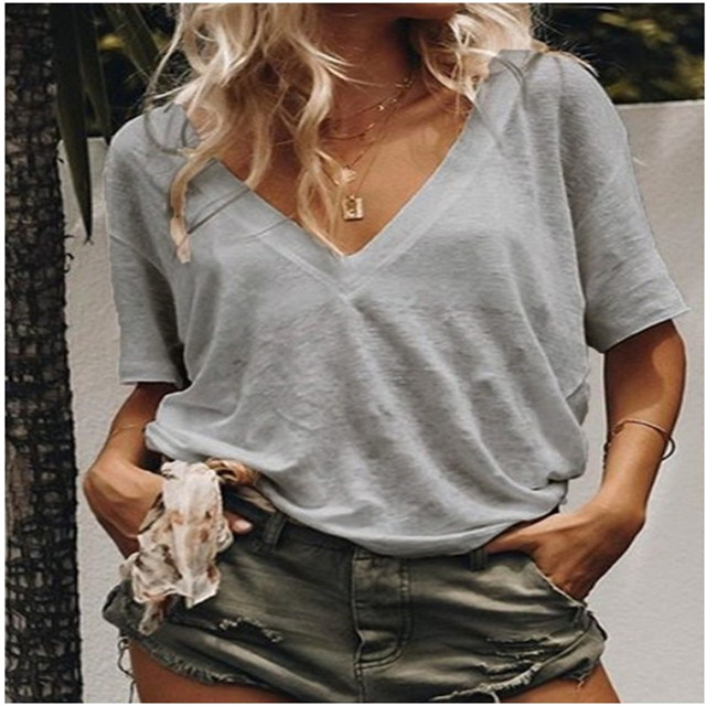 5xl 4xl Summer Women's T-shirt V Neck Short-sleeved Solid Color Casual Loose T-shirt Plus Size