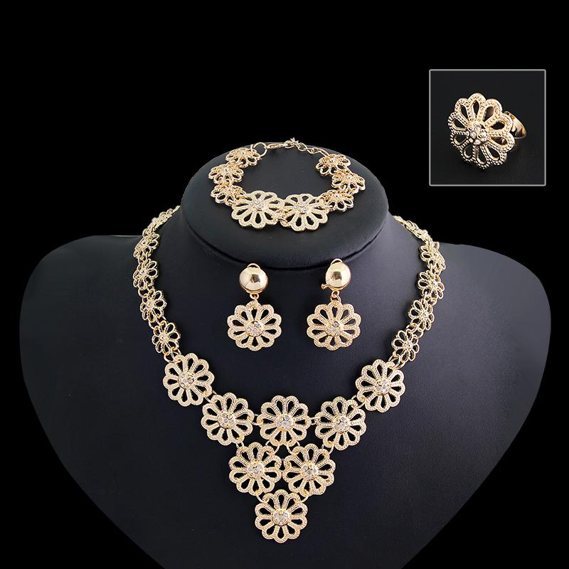 Free Shipping Jewelry <strong>Sets</strong> Gold Plated Filled Vintage African Style Women Luxury Elegant Heavy Necklace 4-Piece <strong>Sets</strong>