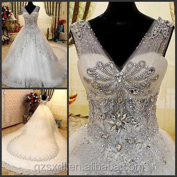 Crystal Beads For Wedding Dress Long Trail Ball Gown V Neck Lace Luxury Bridal