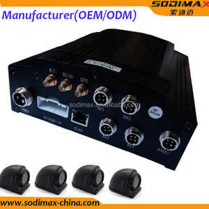 4 Camera recording 3g hd sdi mobile dvr with GPS tracker people counter