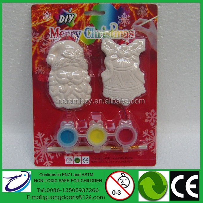 Most Popular DIY Gifts for Christmas Hanging Decoration 2/S Santa & Bell Design with 3 color painting 1 brush