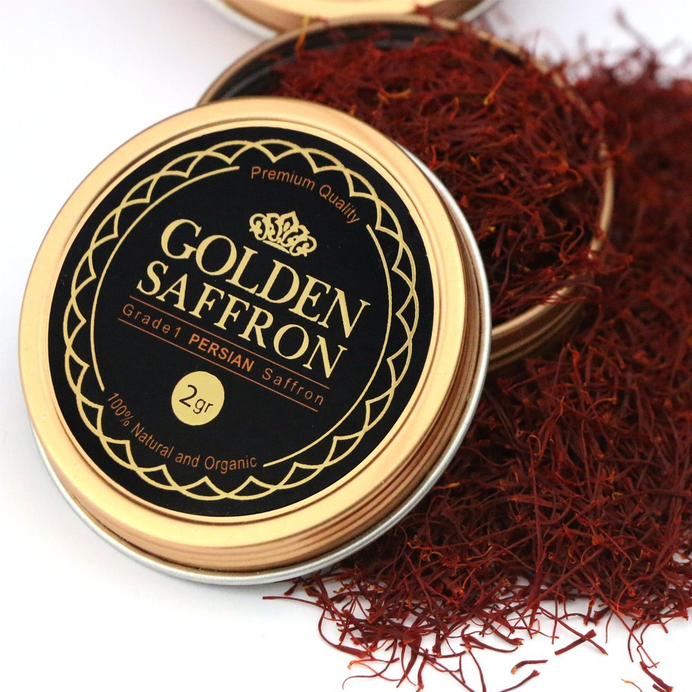 Golden Saffron, Finest Premium Persian All Red Saffron, Grade A+, Highest Grade (2 Grams)