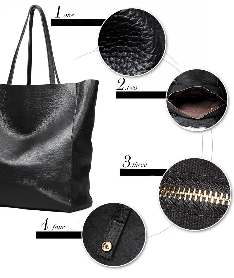 2017 OEM fashion lady black leather tote bag women hand bag brands ...