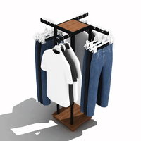 Custom Clothes Store 4 Way Wood Metal Hanging Clothes Display Racks Stand Retail Clothing Rack