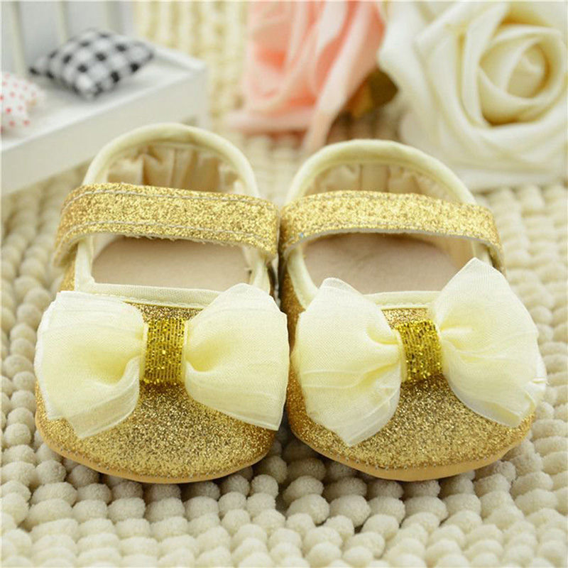 0 18M Cute Baby Kid Girl Infant Soft Sole Ribbon Bowknot Princess Crib Shoes Hot