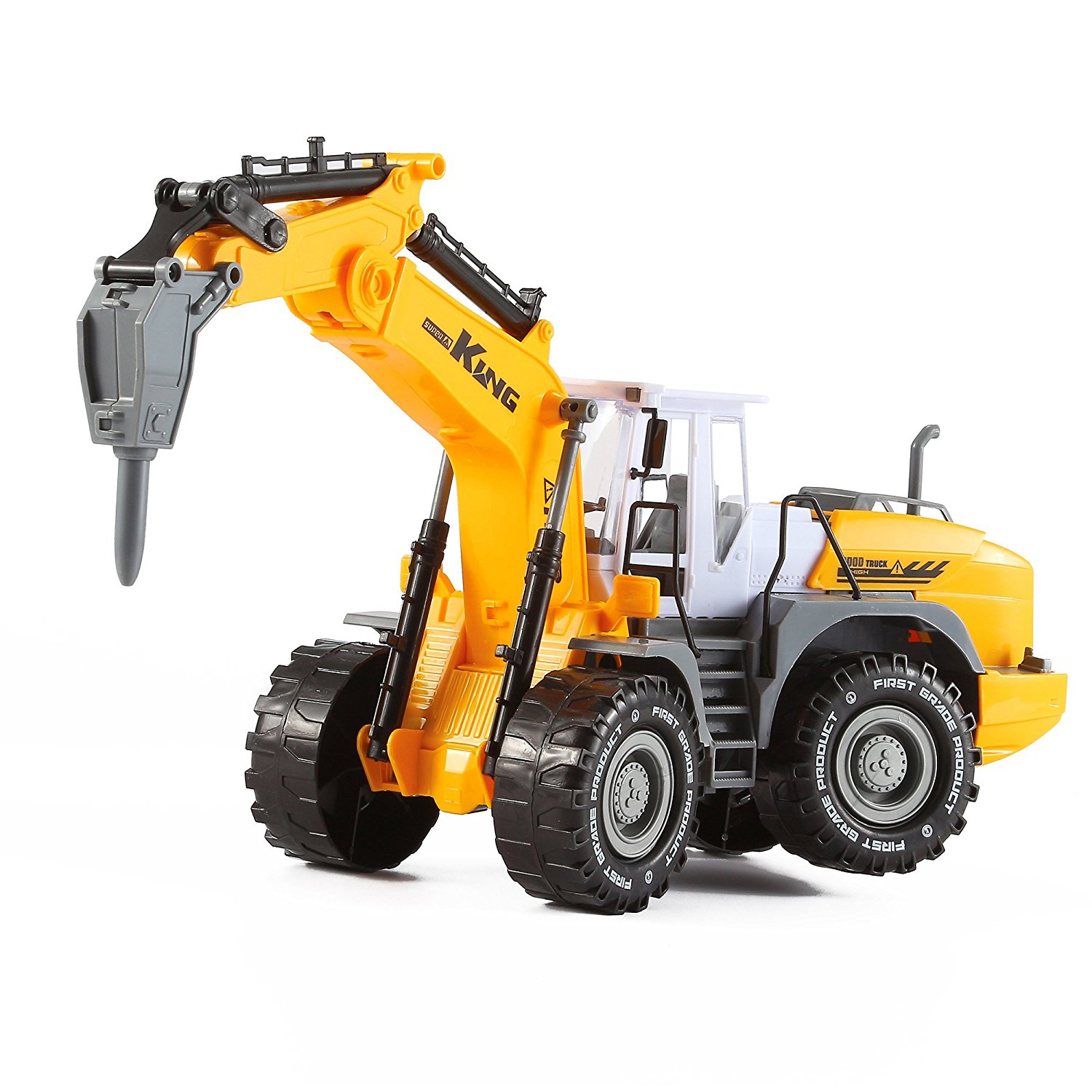 """Get Quotations · """"KING Series"""" Inertia Construction / Demolition Wheeled  Excavator Truck with Demolition Hammer by KinderToys """""""