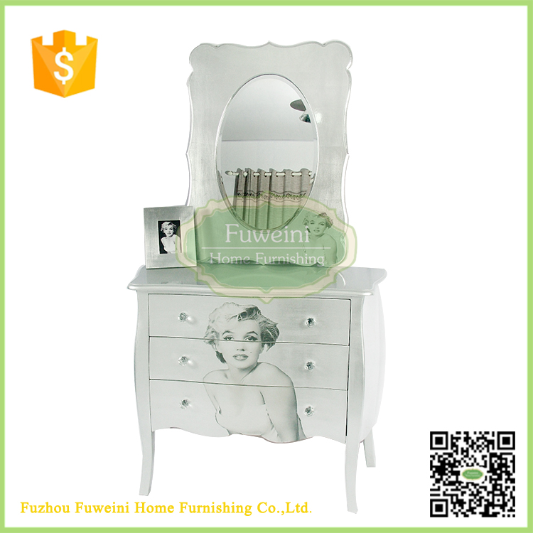 European style simple silver dressing table with mirror and chair