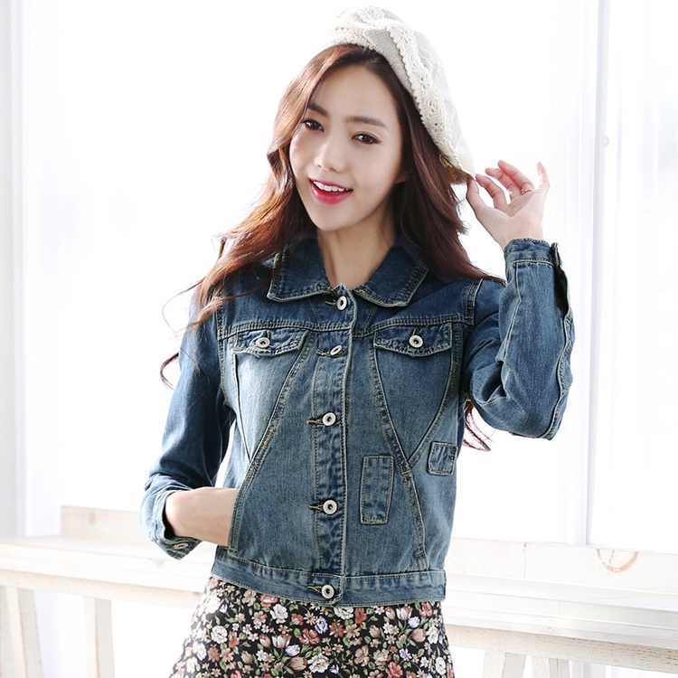 New Autumn Fashion Wild Slim Short Hole Jeans Jackets Coat Single Breasted Denim Outerwear for women size S~XL