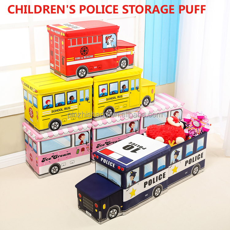 Europe Like Foldable Storage Stool Toy Storage Box For Kids With CHILDREN'S POLICE STORAGE PUFF