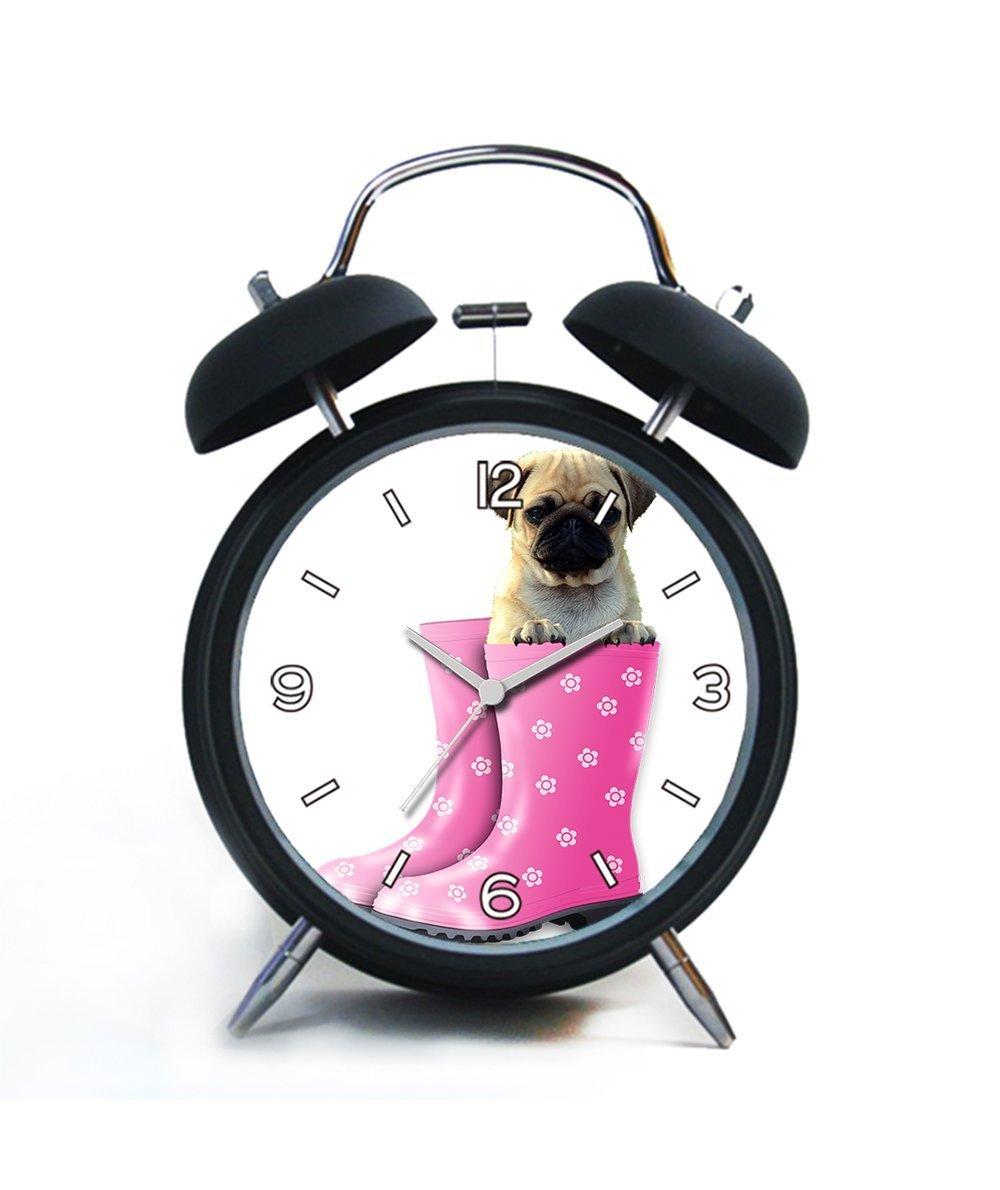 Twin Bell Analog Alarm Clock-Loud Alarm Clock(black)Custom pattern-190.Funny, Pug, Dog, Animal, Pet, Puppy, Funny Dog, Cute