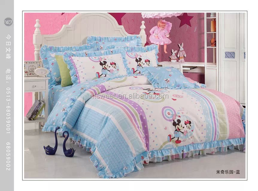 Luxury Home Textile 100 Cotton Kids Cartoon Bedding Set,Mickey And Minnie  Duvet Cover - Buy Kids Cartoon Bedroom Set,Chinese Bedding Set,Mickey Mouse  ...