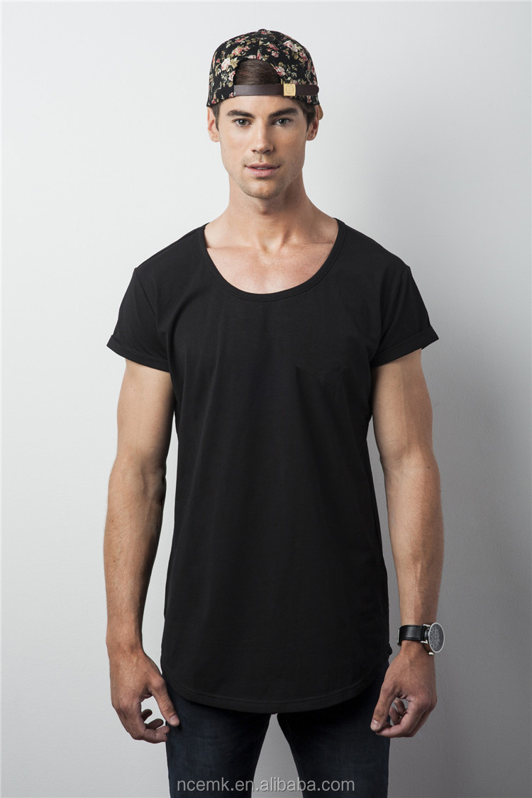 8f75d0c1 100% Cotton Slim Fit T Shirt Black Scoop Neck T Shirt For Men - Buy ...