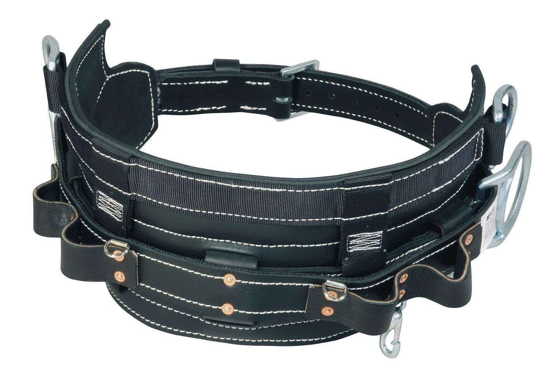 Miller 8449-1 Black Leather Full-Floating Body Belt - Linemen's Belt - 5 in Width - 40 to 50 in Waist Sizes - 8449-1/D24BK [PRICE is per EACH]