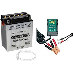Power-Sonic 12N12A-4A-1 Conventional Powersport Battery and Battery Tender 021-0123 Battery Tender Junior 12V Battery Charger Bundle