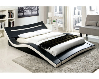 Curve Shape White And Black Genuine Pu Leather Bed Frame With LED Light