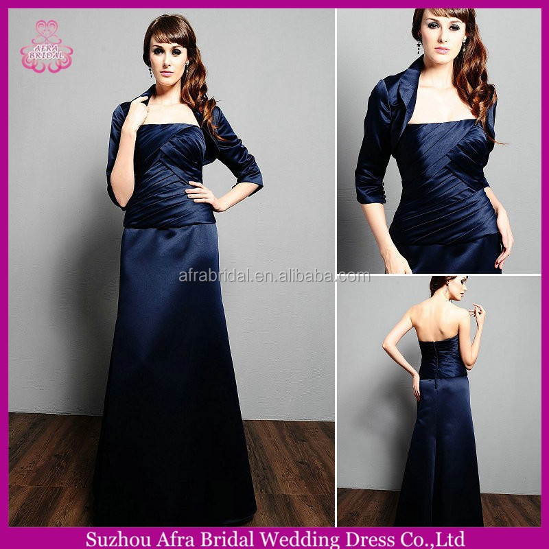 SD1863 custom made 3/4 sleeve satin with jacket mother of the bride dress navy blue