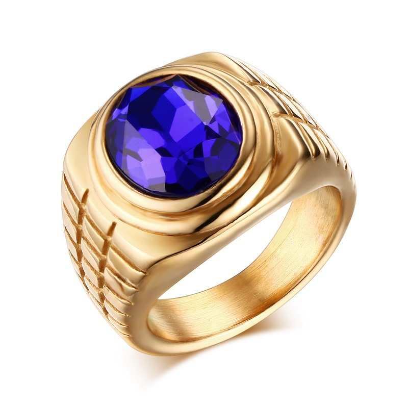 Wholesale Fashion Vintage Stainless Steel Ring Jewelry Royal Blue ...