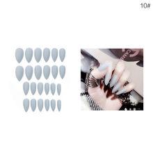 ELECOOL 24 шт. Длинные акриловые накладные ногти 10 чистых цветов, накладные ногти, гель для наращивания ногтей, искусственные аксессуары для диз...(Китай)