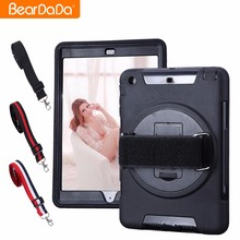 High Impact 360 Degree Rotating hand strap case for 2017 new ipad mini
