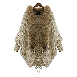 WAQIA 2015 Antumn Winter New European And American Shawl Women Plus Size Thick Knited Fur Collar Batwing Sweater