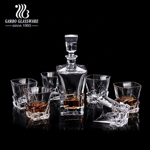6 x 255ml Glass Whiskey Wine Tumblers & Square Glass Decanter Bottle Boxed Set
