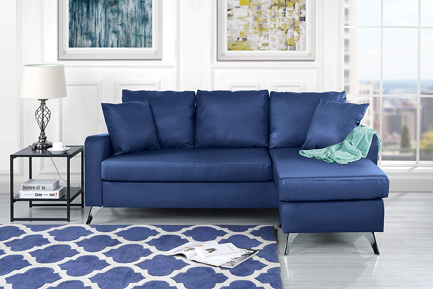 Divano Roma Furniture Bonded Leather Sectional Sofa - Small Space Configurable Couch (Blue)