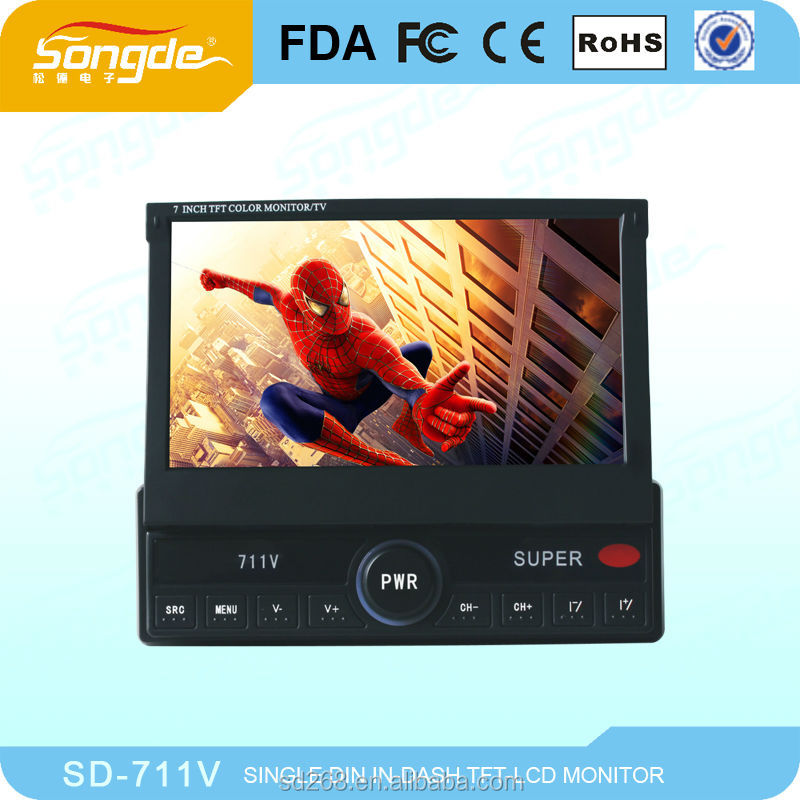 the latest 1 din detachable 3D OSD in-dash car monitor with dvd (ipod/radio/card reader)