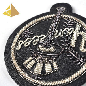 New Model Production Customized Bullion Wire French Embroidery Bag Round Crown London Badges For Bags